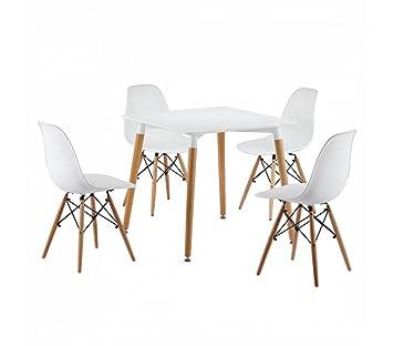 Noorsk Design Mesa de Cocina Oslo + 4 sillas Tower: Amazon.es: Hogar