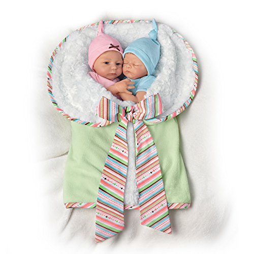 Madison And Mason Twins in Custom Bunting So Truly Real® Lifelike & Realistic Newborn Baby Dolls 13-inches by The Ashton-Drake Galleries by The Ashton-Drake Galleries