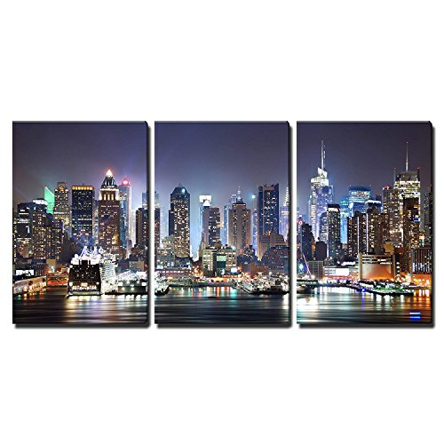 wall26 - Manhattan Skyline at Night - Canvas Art Wall Decor - 24