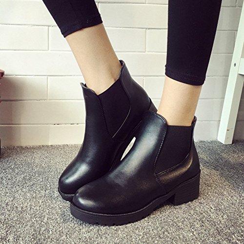 Minetom Klassische Damen Stiefeletten Chelsea Boots London Style Schuhe Thick heel Schwarz mit Baumwollfutter