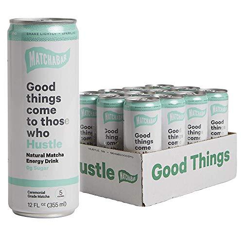 MatchaBar Hustle Matcha Energy Drink, Zero Sugar Sparkling Matcha With Caffeine, Antioxidants, L-Theanine, 12 fl. oz. (Pack of 12)