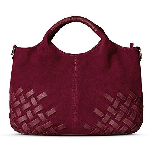 (Nico Louise Women Weave Suede Genuine Leather Handbag Female Leisure Casual Lady Crossbody Shoulder Bag Messenger Top-handle Bags (Burgundy Big))