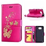 MOONCASE Galaxy Alpha Case, Bronzing Butterfly Pu Leather Wallet Pouch Etui Flip Kickstand Case Cover for Samsung Galaxy Alpha G850 Bookstyle Folio [Shock Absorbent] TPU Case with Photo Frame Hotpink