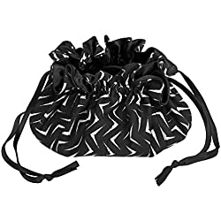 C.R. Gibson Black and White Satin Lined Travel Jewelry Pouch