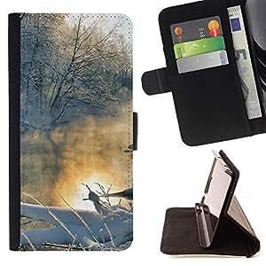 BullDog Case - FOR/Samsung Galaxy S5 V SM-G900 / - / Winter landscape /- Monedero de cuero de la PU Llevar cubierta de la caja con el ID Credit Card Slots Flip funda de cuer