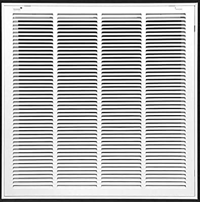 """25"""" X 25 Steel Return Air Filter Grille for 1"""" Filter - Removable Face/Door - HVAC DUCT COVER - Flat Stamped Face - White [Outer Dimensions: 27.5""""w X 27.5""""h]"""
