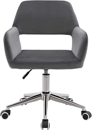 Farelves Velvet Office Chair Adjustable Height Swivel Desk Chair Ergonomic Hollow Back Computer Chair Home Office Chairs Grey Amazon Co Uk Kitchen Home