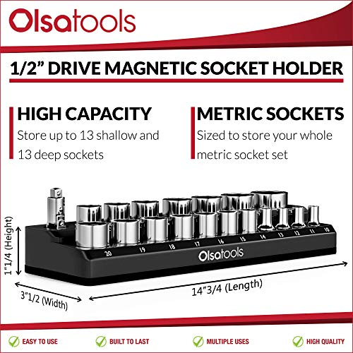 Olsa Tools Magnetic Socket Holder | 1/2-inch Drive | Metric | Black | Holds 19 Sockets | Premium Quality Tools Organizer by Olsa Tools (Image #2)