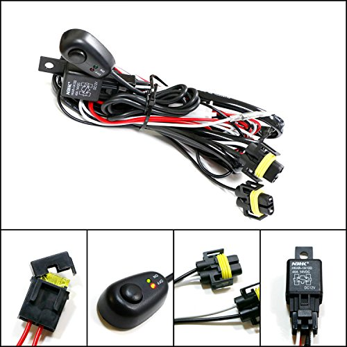 iJDMTOY (1) H11/H8 Relay Harness Wire Kit with LED Light ON/OFF Switch For Aftermarket Fog Lights, Driving Lights, HID Conversion Kit, LED Work Lamp, etc Fog Lamp Switch