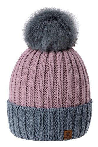 Rose Pompón Esquí Ltd para de Mujer Invierno Estilo y Gorro De Snowboard Beanie Romens Pink Hombre Grey Pdqw8ZP