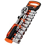 KSEIBI 103482 Drive Socket Set 10-24 mm Metric Cr-V 1/2 Inch 10 Dr. Sockets with Quick Release Ratchet Handle and Extension Bar with Storage Rack