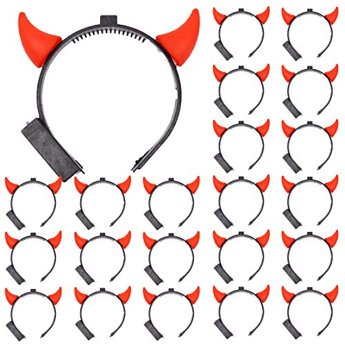 24 Pcs LED Light Up Devil Horns Flashing Headbands Glowing New Years Christmas Halloween Party Supplies Gift ()