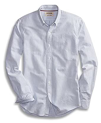 Goodthreads Men's Slim-Fit Long-Sleeve Striped Oxford Shirt, Blue/White, Small