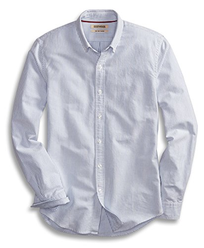 (Goodthreads Men's Slim-Fit Long-Sleeve Stripe Oxford Shirt, Blue/White, Small)