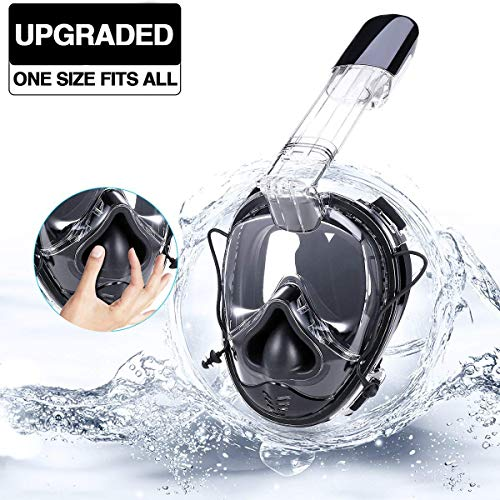 Full Face Snorkel Mask, Foldable Snorkeling Mask for Adults and Kids with Camera Mount 180° Large Panoramic View Easy Breath Dry Top Set Anti-Fog Anti-Leak (All In One Face Mask And Snorkel)