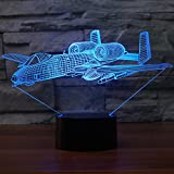 Kingchip War Plane Fighter LED 3D Night Lights Colorful Table lamp Multi Colors Military Jet Plane Aircraft with USB Power Decor Gift