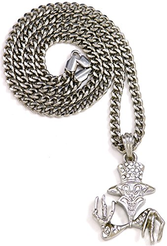 Ringmaster Joker Iced Out Pendant 24 Inch Necklace Silver Color Cuban Style (Joker Pendant)
