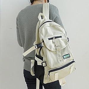 New Fashion arcuate shoulder strap zipper solid casual bag male backpack school bag canvas bag designer backpacks for men (Beige Color)