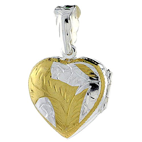 Two Tone Sterling Silver Heart Locket Necklace 18 inch Engraved Handmade, 3/4 inch