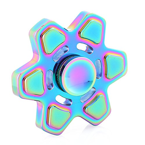 HAND SPINNER Flower Shape Fidget Toy Time Killer for Relieve ADHD Anxiety Reduce Stress EDC Focus Toy (D.Multicolor 1)