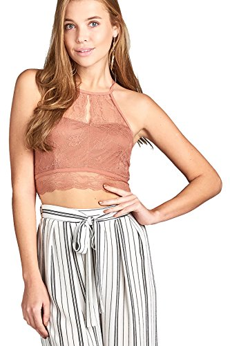 Halter Neckline Sleeveless - Active USA Women's Sleeveless Neckline Halter Neck Open Back Lace Crop Top T3479 (Dawn Pink, M)