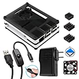 Smraza Raspberry Pi 3 B+ Case Include Fan + Heatsinks + 2.5A Power Adapter + Micro USB Cable w/On Off Switch for Pi 3B+, 3 Model B plus, 3B