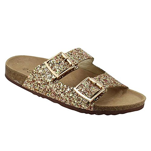 - Forever FQ79 Women's Sparkle Glitter Slip On Casual Sandals, Color:Gold, Size:8
