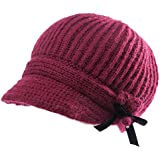SIGGI 50%/100% Wool newsboy Cap Winter Hat Visor Beret Cold Weather Knitted