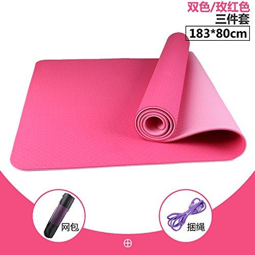 The two-Couleur of rouge 18380 8Mm( Beginner) YOOMAT Le Recto-Verso Anti-Slip Insipide TPE Yoga Mat 80 cm de grand épais Débutant Fitness Mat Trois Piece grand Extension104425