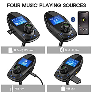 Nulaxy Bluetooth Car FM Transmitter Audio Adapter Receiver Wireless Handsfree Voltmeter Car Kit TF Card AUX USB 1.44 Display On/Off Button Folder Play Mode - KM24 Black