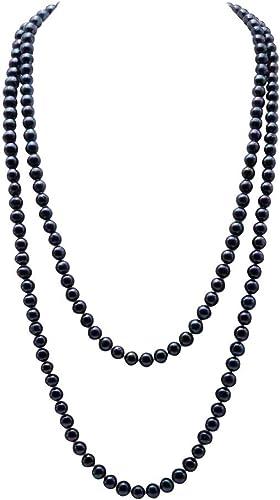 JYX Collar largo de perlas con suéter de agua dulce, collar negro cultivado para mujer