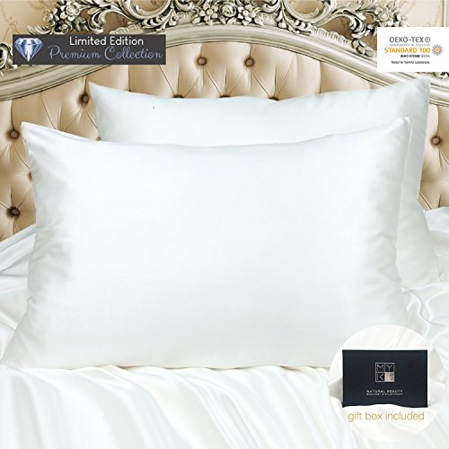 MYK 100% Pure 30 Momme Mulberry Silk Luxury Pillowcase for Hair, Skin Care, OEKO-Tex Certified, Queen Size, Un-dyed Ivory - Dyed Mulberry