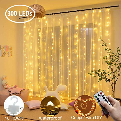 Curtain String Lights 300 LEDs Window Curtain Fairy Lights Copper Wire Twinkle Star String Lights USB Remote Control 8 Modes Hanging Lights for Bedroom Decor Indoor Outdoor, Wedding (300 LED, Yellow)