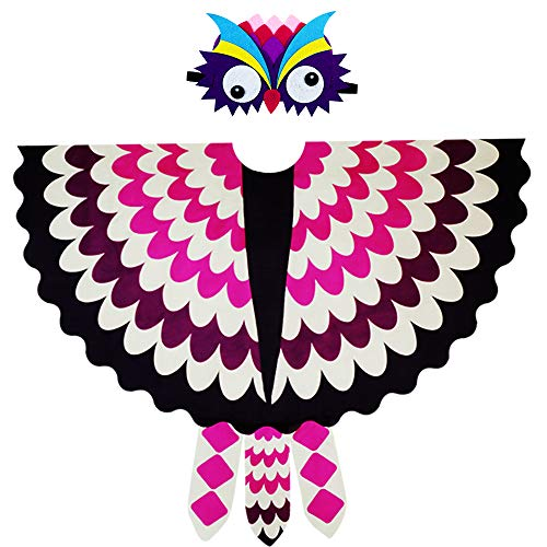 Toddler Kids Fairy Bird Costume Owl Wings Feathered with Mask - Boys Girls Animal Dress-up Party Favors (#6 Rose-White) -