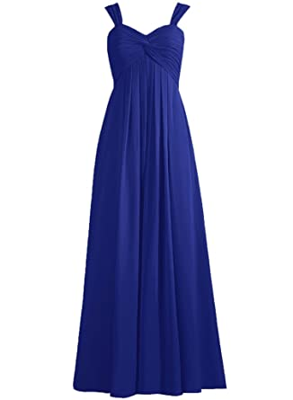 EllaGowns Sweetheart Sexy Long Chiffon Bridesmaid Dress Prom Dresses Royal Blue US 14