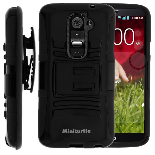 (MINITURTLE Case Compatible w/MINITURTLE, 2 in 1 Hybrid Dual Layer Armor Phone Case Cover w/Stand, Holster Belt Clip, and Screen Protector for Android Smartphone LG Optimus G2 II 2 (Black))