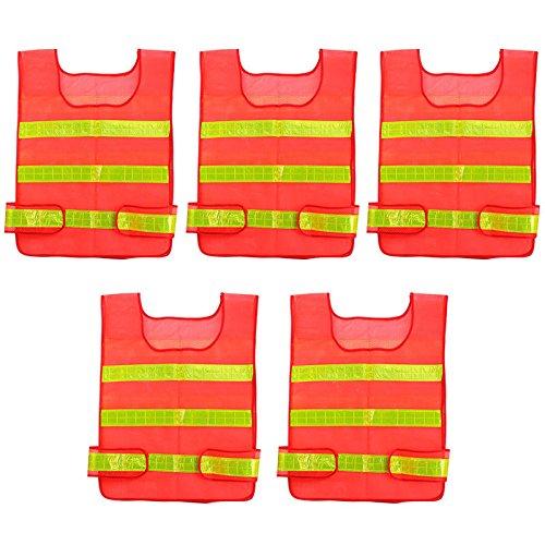 New Deluxe 5 Pcs Lot High Visibility Soft Polyester Reflective Red Orange Safety Security Adjustable Vest Work Vest Running Vest Jacket Waistcoat