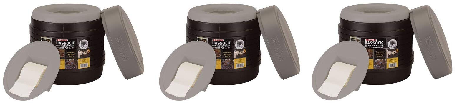 Reliance Products Hassock Portable Lightweight Self-Contained Toilet (Colors May Vary) (Pack of 3)