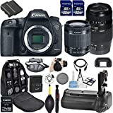 Canon EOS 7D Mark II DSLR Camera. Kit Includes, 2Pcs 32GB Commander MemoryCard + Battery Grip + Extra Battery + Backpack Case + Grip Strap + Air Blower + Cleaning Kit (3) 18-55mm + 70-300mm Kit
