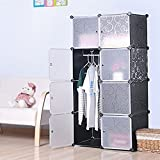 House of Quirk Multi Use DIY Plastic 8 Cube Organizer, Bookcase, Storage Cabinet, Wardrobe Closet Black with White Door