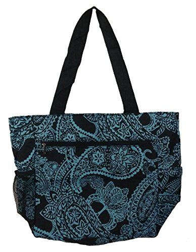 Large Tote Bag   13.5 Inch Shopping or Beach Bag by Unique Traveler (Paisley-Blue)
