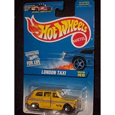 Hot Wheels - London Taxi - 1:64 Scale Replica - Collector #619 - Yellow Body Color w/graphics - 5 Spoke Wheels - China Made: Toys & Games