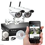 Funlux® 1 Megapixel 720P HD 4CH NVR 2 Wireless Outdoor IP Network Surveillance Camera Kit CCTV Security Camera System with 1TB HDD & Scan QR Code Quick View