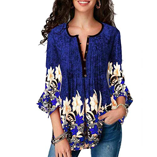 Womens Floral Printed 3/4 Sleeve Notch Neck Pintuck Casual Tunic Loose Tops Blouses for Women (M, Blue)