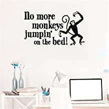 bileso Vinyl Peel and Stick Mural Removable Decals No More Monkeys Jumpin' on the Bed!