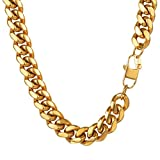 PROSTEEL Miami Cuban Gold Mens Chain,Hip Hop Jewelry,Hiphop Gold Chains For Men,Collares Hombre,18K Gold Plated,PSN2914J-26
