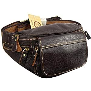 Leather Men's Large-Capacity Waist Bag Underwear Multi-Function Flat Chest Bag Mobile Phone Bag (Color : Brown, Size : S)