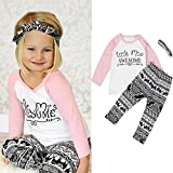 Baby Girl 3PCS Outfits Set,YJM Toddler Baby Kids Girls Clothes T-shirt Pants Leggings Headband (5T, White)