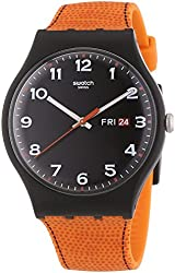 Swatch Faux Fox Black Dial Plastic Orange Silicone Quartz Men's Watch SUOB709