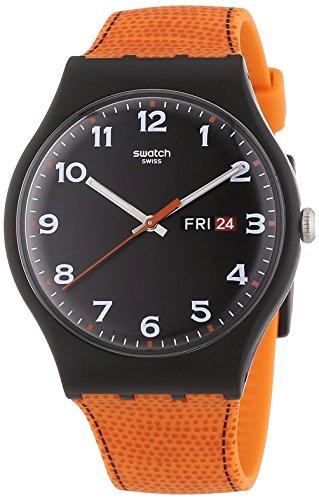 Swatch Faux Fox Black Dial Plastic Orange Silicone Quartz Men's Watch - Swatch Orange